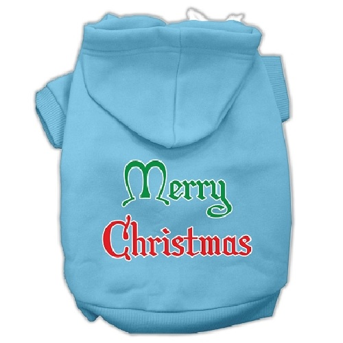 Merry Christmas Screen Print Pet Hoodie - Baby Blue | The Pet Boutique