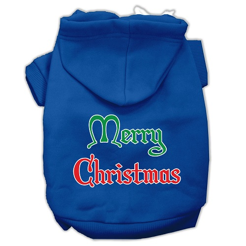 Merry Christmas Screen Print Pet Hoodie - Blue | The Pet Boutique