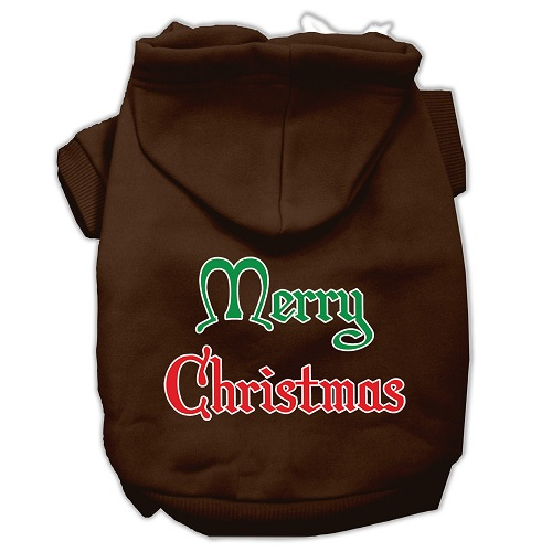Merry Christmas Screen Print Pet Hoodie - Brown | The Pet Boutique