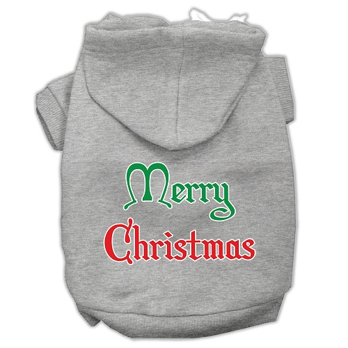 Merry Christmas Screen Print Pet Hoodie - Grey | The Pet Boutique