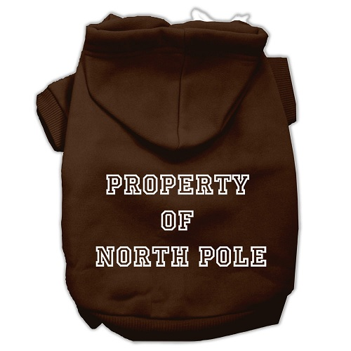 Property of North Pole Screen Print Pet Hoodie - Brown | The Pet Boutique