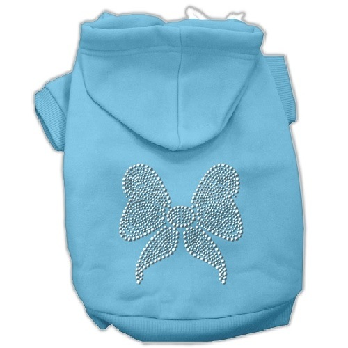 Rhinestone Bow Pet Hoodie - Baby Blue | The Pet Boutique
