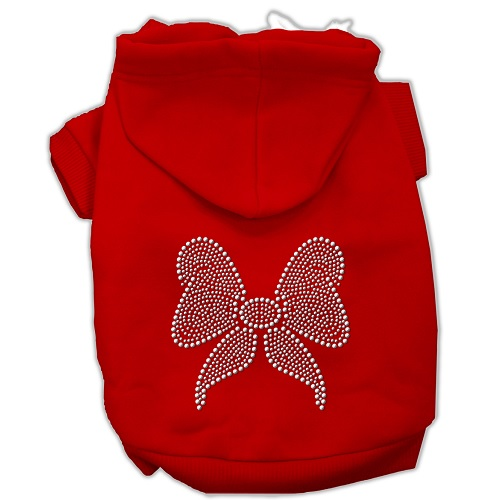 Rhinestone Bow Pet Hoodie - Red | The Pet Boutique