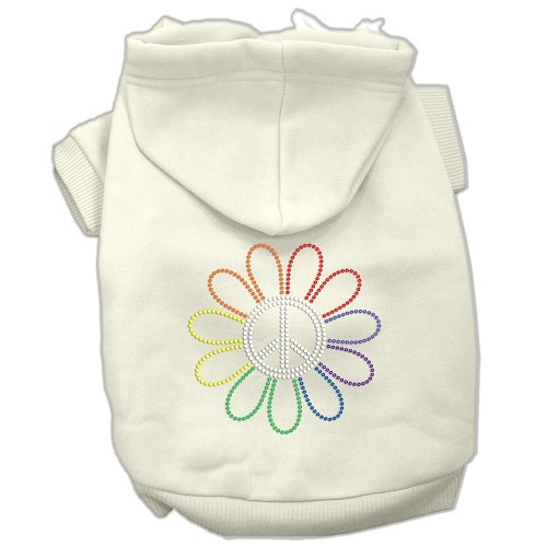 Rhinestone Rainbow Flower Peace Sign Pet Hoodie - Cream | The Pet Boutique