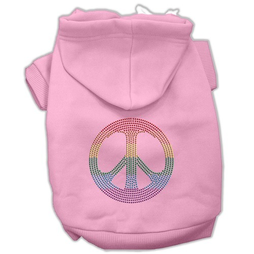 Rhinestone Rainbow Peace Sign Pet Hoodie - Pink   The Pet Boutique