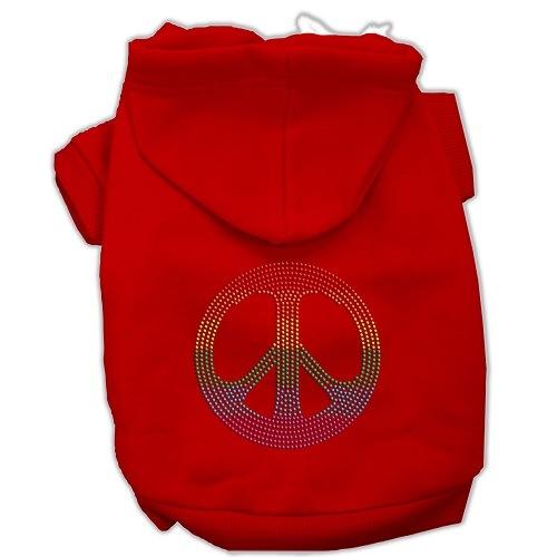 Rhinestone Rainbow Peace Sign Pet Hoodie - Red   The Pet Boutique