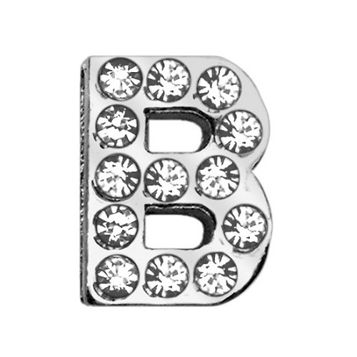 18mm Clear Crystal Letter Sliding Collar Charm - B | The Pet Boutique