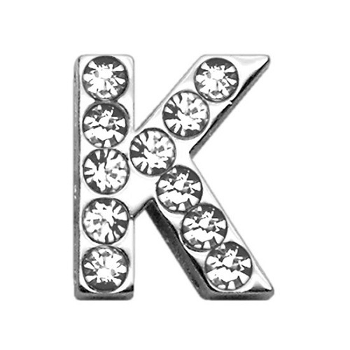 18mm Clear Crystal Letter Sliding Collar Charm - K | The Pet Boutique