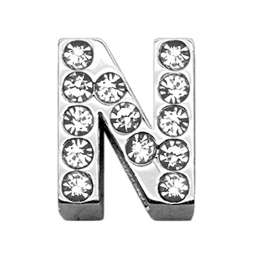 18mm Clear Crystal Letter Sliding Collar Charm - N | The Pet Boutique