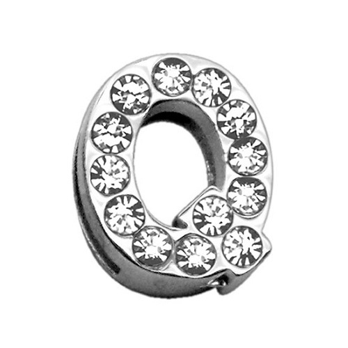 18mm Clear Crystal Letter Sliding Collar Charm - Q | The Pet Boutique