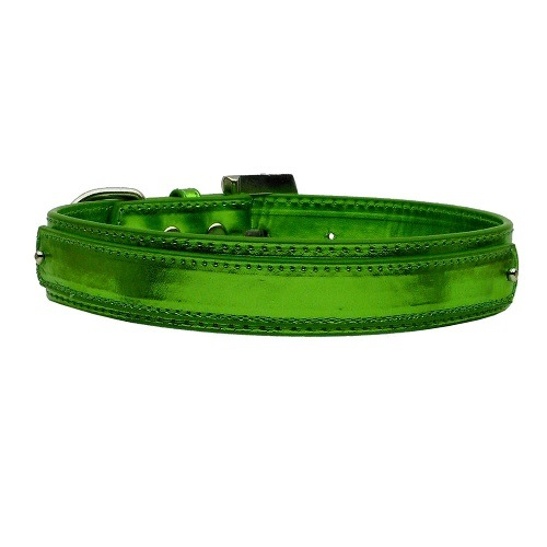 18mm Metallic Two-Tier Dog Collar - Emerald Green | The Pet Boutique