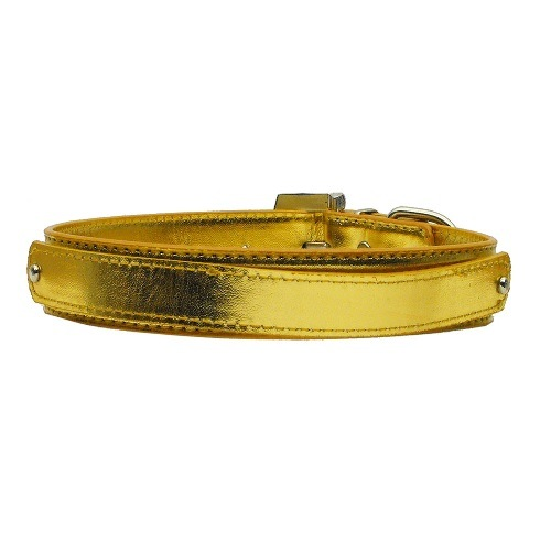 18mm Metallic Two-Tier Dog Collar - Gold | The Pet Boutique