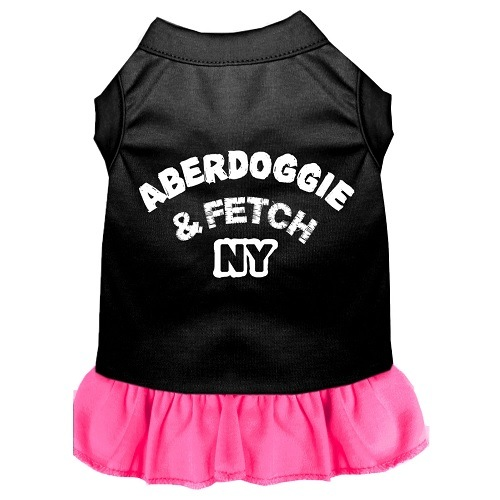 Aberdoggie NY Screen Print Pet Dress - Color Combo - Black with Bright Pink | The Pet Boutique