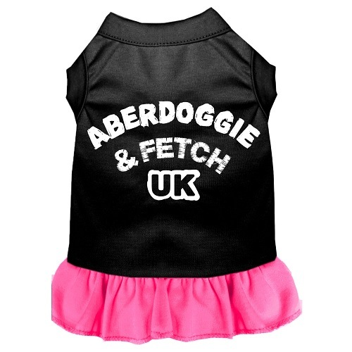 Aberdoggie UK Screen Print Pet Dress - Color Combo - Black with Bright Pink | The Pet Boutique