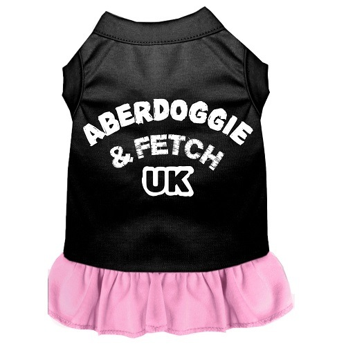 Aberdoggie UK Screen Print Pet Dress - Color Combo - Black with Light Pink | The Pet Boutique