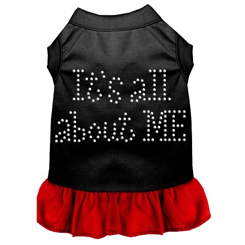 All About Me Rhinestone Pet Dress - Black with Red | The Pet Boutique