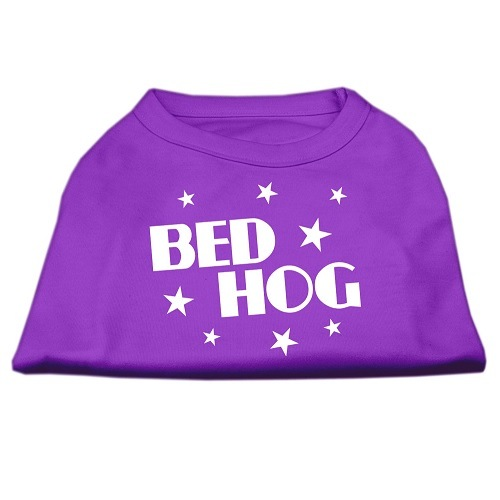 Bed Hog Screen Print Dog Shirt - Purple | The Pet Boutique