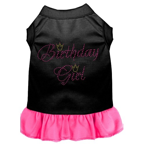 Birthday Girl Rhinestone Pet Dress - Black with Bright Pink | The Pet Boutique