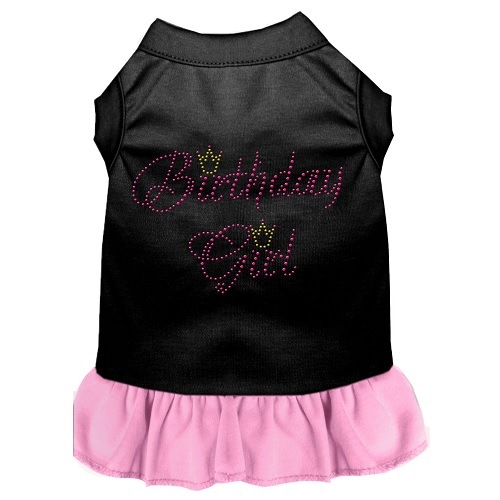 Birthday Girl Rhinestone Pet Dress - Black with Light Pink | The Pet Boutique