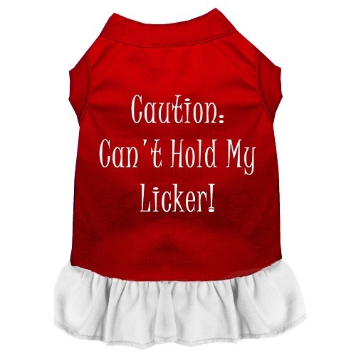 Can't Hold My Licker Screen Print Pet Dress - Color Combo - Red with White | The Pet Boutique
