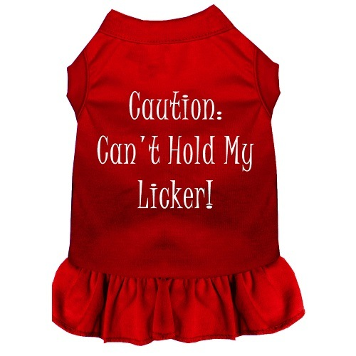 Can't Hold My Licker Screen Print Pet Dress - Red | The Pet Boutique