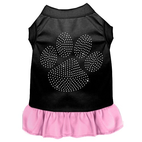 Clear Paw Rhinestone Pet Dress - Color Combo - Black with Light Pink | The Pet Boutique
