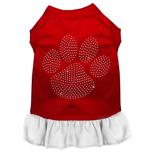 Clear Paw Rhinestone Pet Dress - Color Combo - Red with White | The Pet Boutique