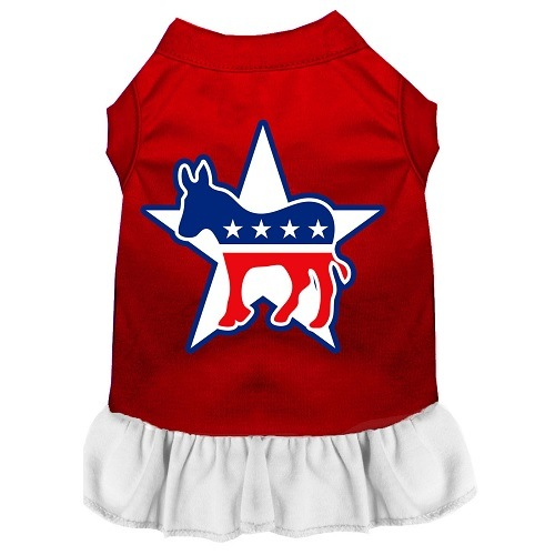 Democrat Screen Print Pet Dress - Color Combo - Red with White | The Pet Boutique