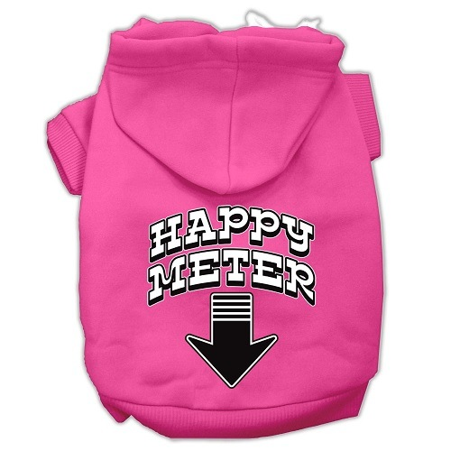 Happy Meter Screen Print Dog Hoodie - Bright Pink | The Pet Boutique