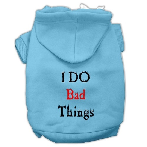 I Do Bad Things Screen Print Pet Hoodie - Baby Blue | The Pet Boutique