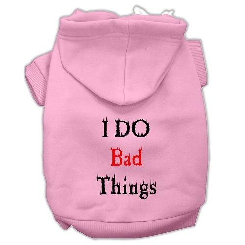 I Do Bad Things Screen Print Pet Hoodie - Light Pink | The Pet Boutique