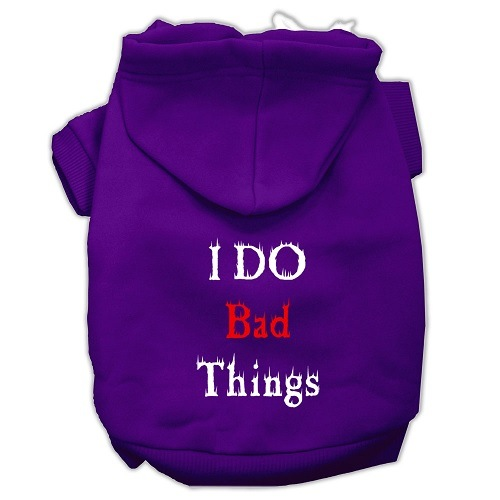 I Do Bad Things Screen Print Pet Hoodie - Purple | The Pet Boutique