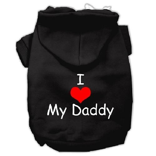 I Love My Daddy Screen Print Pet Hoodie - Black | The Pet Boutique