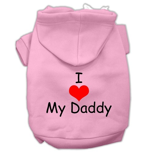 I Love My Daddy Screen Print Pet Hoodie - Light Pink | The Pet Boutique