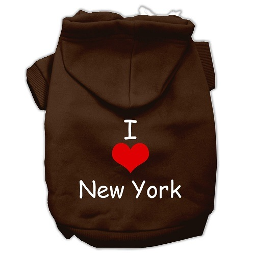 I Love New York Screen Print Pet Hoodie - Brown   The Pet Boutique
