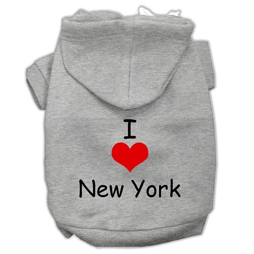 I Love New York Screen Print Pet Hoodie - Grey   The Pet Boutique