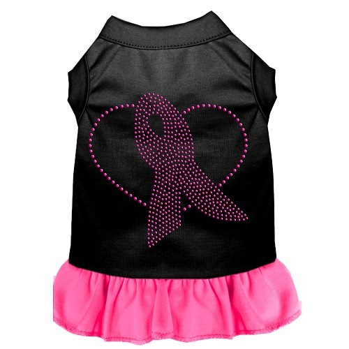 Pink Ribbon Rhinestone Pet Dress - Black with Bright Pink | The Pet Boutique