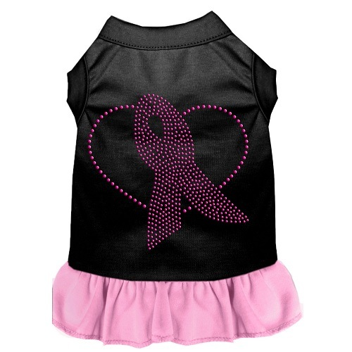 Pink Ribbon Rhinestone Pet Dress - Black with Light Pink | The Pet Boutique