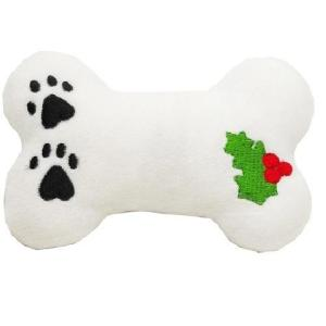 Plush Holly Bone Christmas Dog Toy with Squeaker   The Pet Boutique