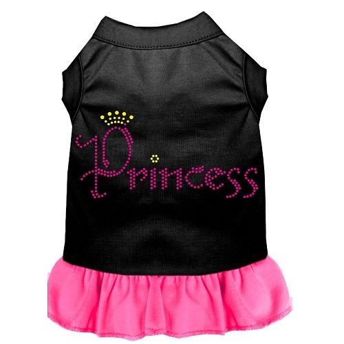 Princess Rhinestone Pet Dress - Black with Bright Pink | The Pet Boutique