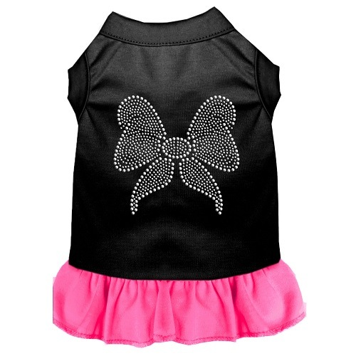 Rhinestone Bow Pet Dress - Color Combo - Black with Bright Pink | The Pet Boutique