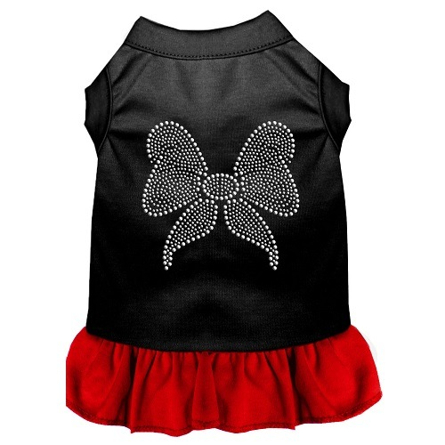 Rhinestone Bow Pet Dress - Color Combo - Black with Red | The Pet Boutique
