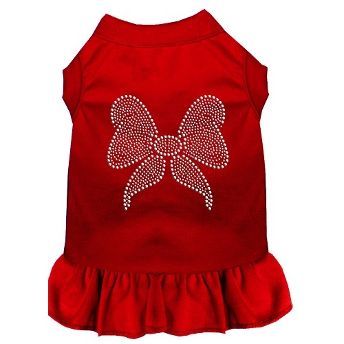 Rhinestone Bow Pet Dress - Red | The Pet Boutique