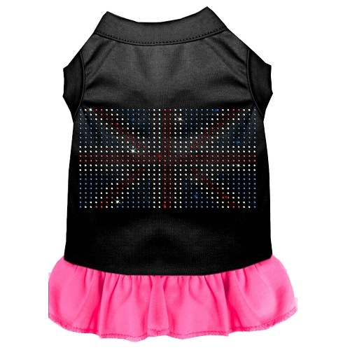 Rhinestone British Flag Pet Dress - Color Combo - Black with Bright Pink | The Pet Boutique