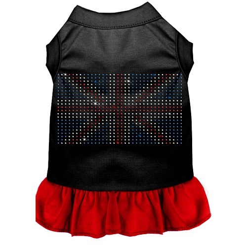 Rhinestone British Flag Pet Dress - Color Combo - Black with Red | The Pet Boutique