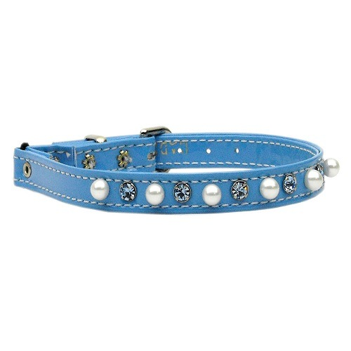 Patent Pearl and Crystals Cat Safety Collar with Band - Baby Blue | The Pet Boutique