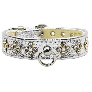 Silver Metallic Tiara Dog Collar - Clear Stones | The Pet Boutique