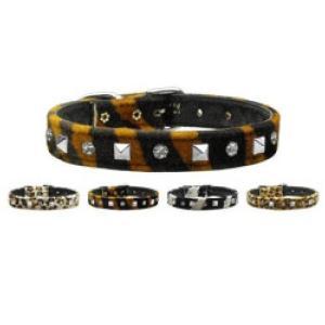 Animal Print Crystal and Pyramid Dog Collar | The Pet Boutique