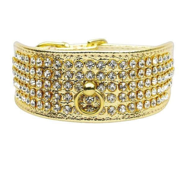 Clear Crystal 5 Row Mirage Dog Collar - Gold | The Pet Boutique