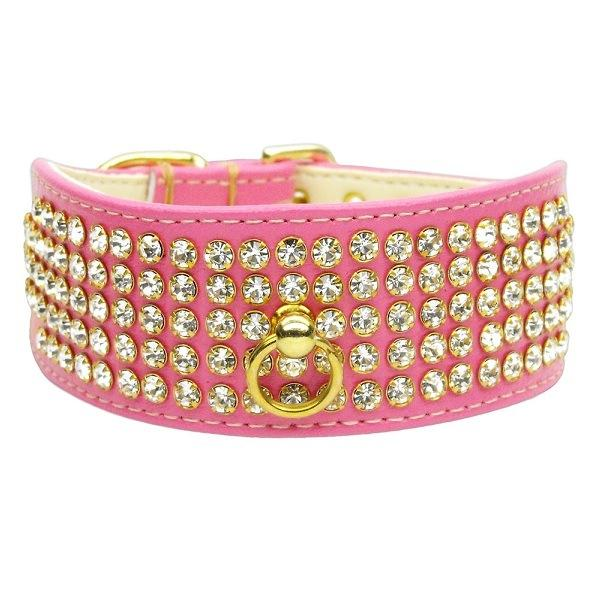 Clear Crystal 5 Row Mirage Dog Collar - Pink | The Pet Boutique